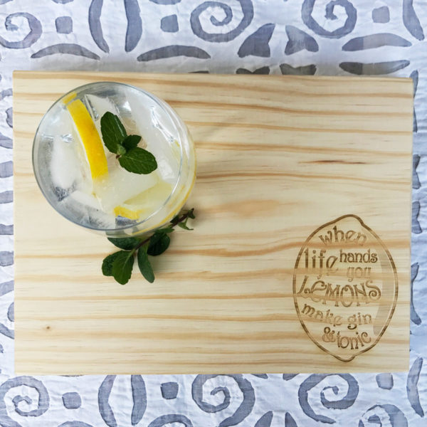 Gin and Tonic Food Board Bleached South Africa