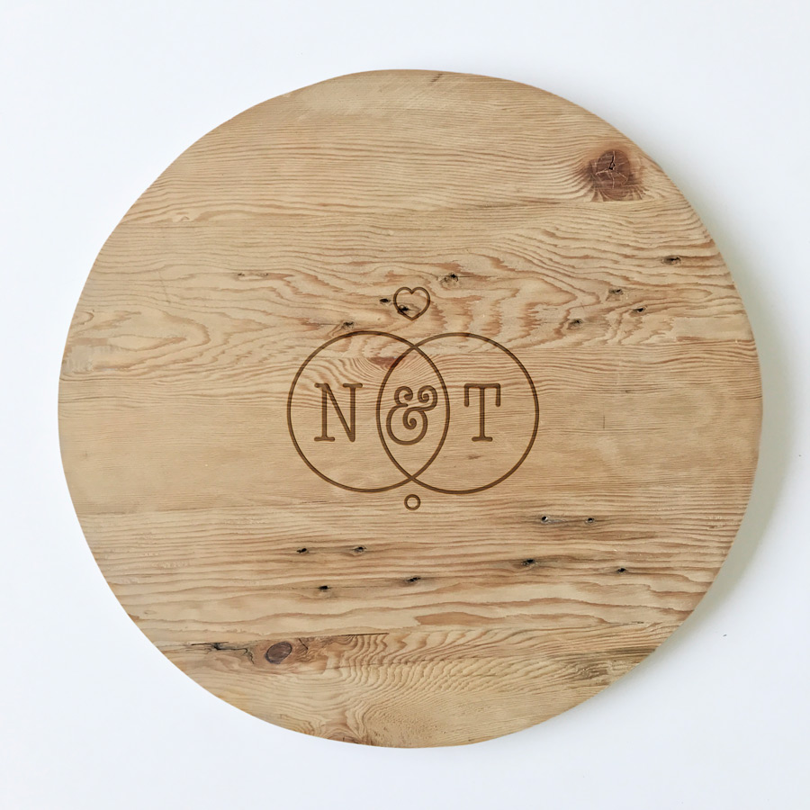 Customised Round Cheese Board Bleached Wooden Furniture