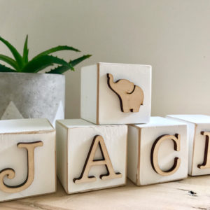 wooden block letters Bleached decor south africa