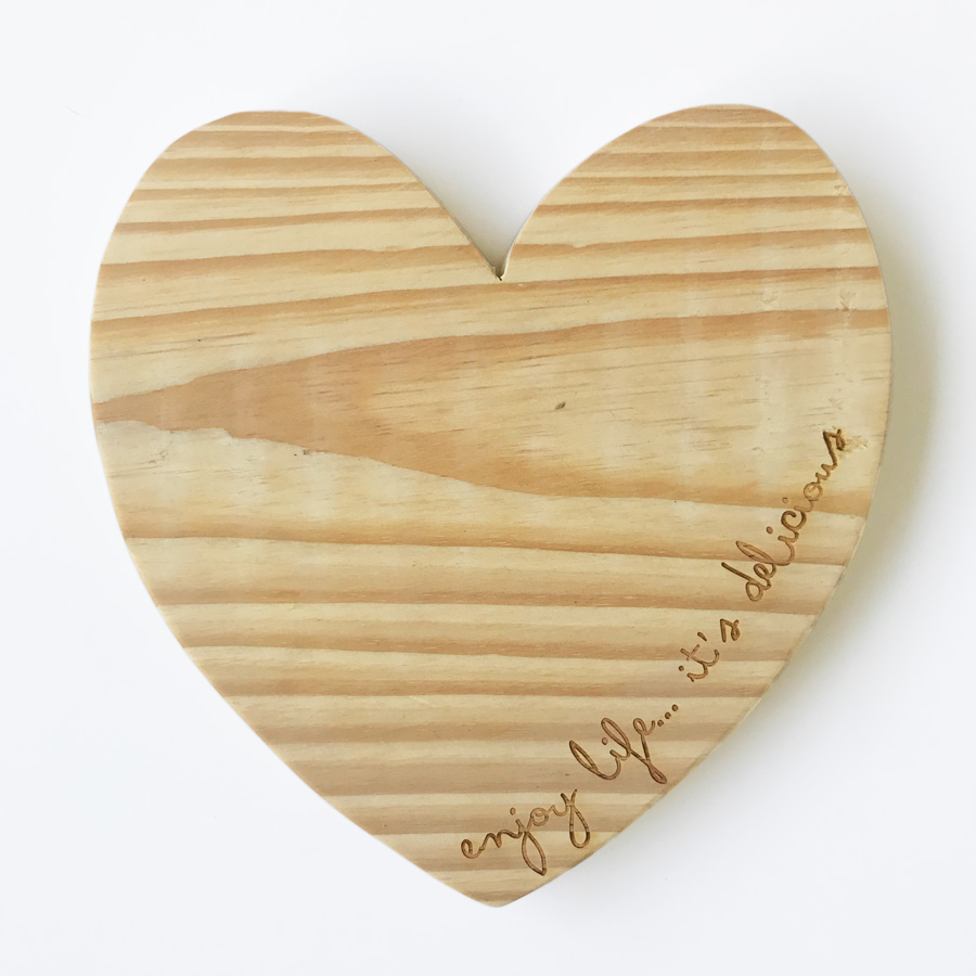 Heart Cheese Board - Various Engravings - Bleached