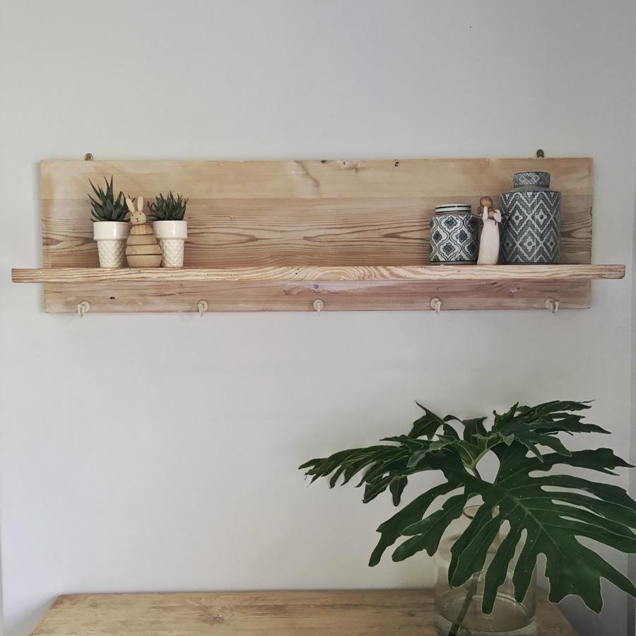 L Shaped Shelf Bleached
