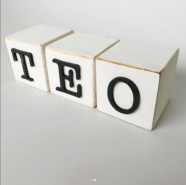 Bleack on white block letters | name letters | name letter blocks | customised blocks | ABC blocks | Bleacheddecor | Bleached South Africa | Johannesburg