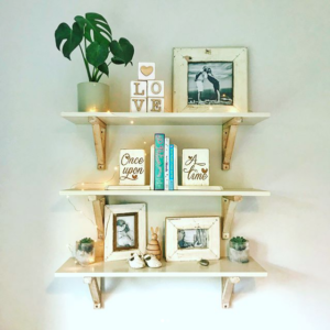 two-tone wooden shelves | shelf with bracket set | modern shelf | nursery shelves | Bleacheddecor | Bleached South Africa | Johannesburg