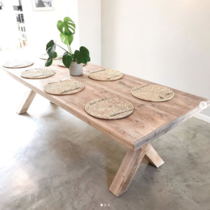 Chunky X-cross dining room table, wooden table, reclaimed Oregon pine table, table, x-cross, criss cross, large table, Bleacheddecor, Bleached South Africa