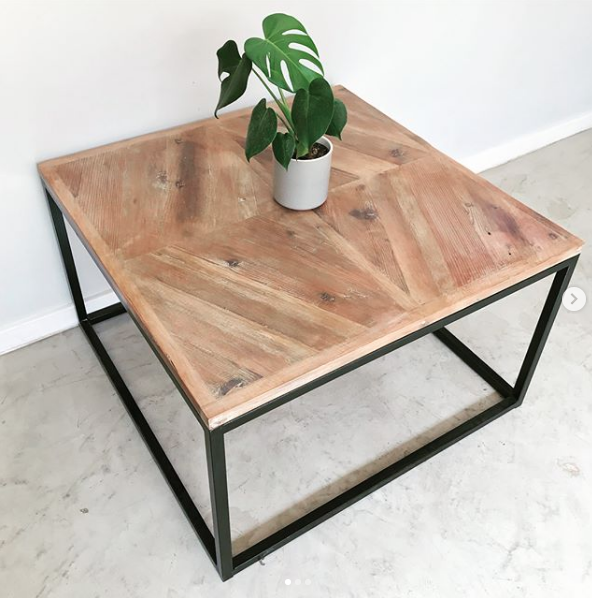 steel base coffee table, coffee table, herringbone top, modern coffee table, Bleacheddecor, Bleached South Africa