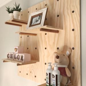 Peg Board | Peg wall | Wall peg board | pine plywood| Wooden shelf| Bleacheddecor | Bleached South Africa